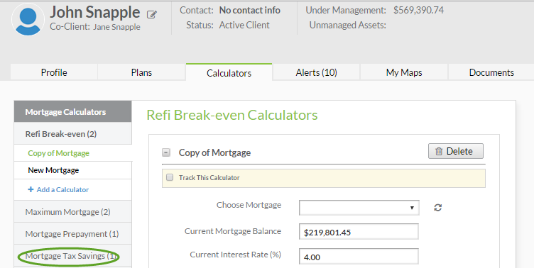 mortgage tax savings calculator support